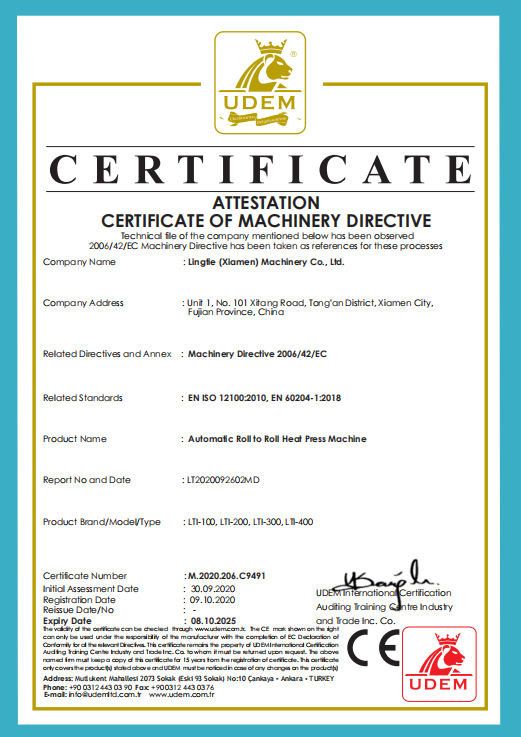 CE certificates for Automatic roll to roll Heat Press Machine